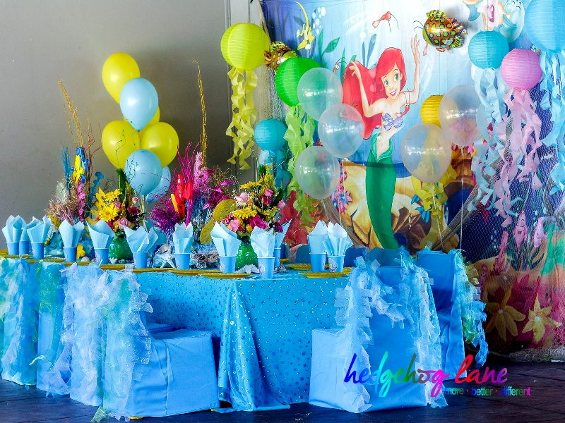 Ariel kids themed party decor hedgehog lane themed party for Ariel decoration ideas