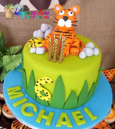 Safari Tiger Themed  Birthday Cake